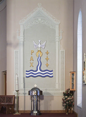 Saint Joseph Roman Catholic Church in Neier, Missouri, USA - baptismal font