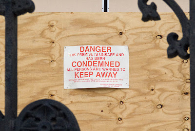 Saint Alphonsus Ligouri Rock Roman Catholic Church, in Saint Louis, Missouri, USA - condemnation sign