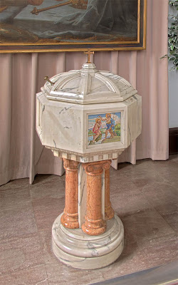 Basilica of Saint Louis, King of France, in Saint Louis, Missouri, USA - baptismal font