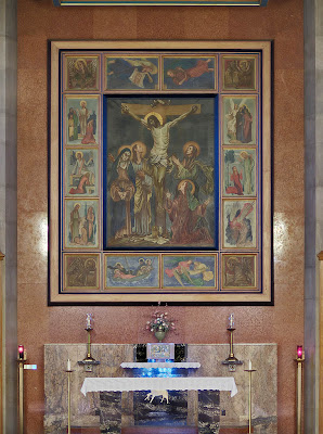 Saint Mary Magdalen Roman Catholic Church, in Brentwood, Missouri, USA - crucifixion painting
