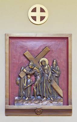 Saint Mary Magdalen Roman Catholic Church, in Brentwood, Missouri, USA - station of the cross