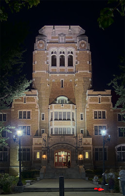 Cardinal Rigali Center, in Shrewsbury, Missouri, USA - tower at night