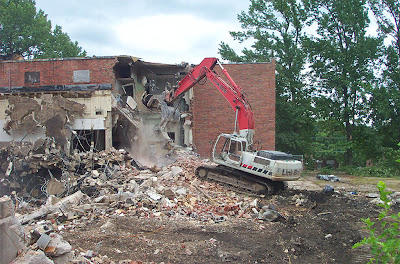 Destruction of Heege Elementary School, in Affton, Missouri, USA