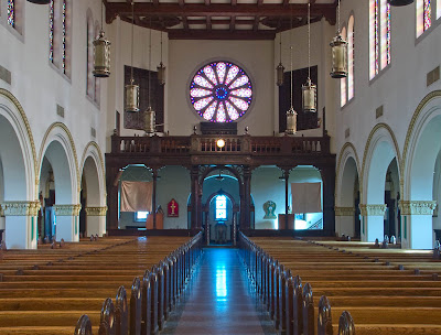 Saint George Roman Catholic Church, in Affton, Missouri, USA - view to back of nave