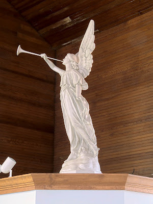 Saint James Roman Catholic Church, in Catawissa, Missouri, USA - angel statue