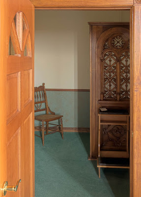 Saint James Roman Catholic Church, in Catawissa, Missouri, USA - Confessional interior