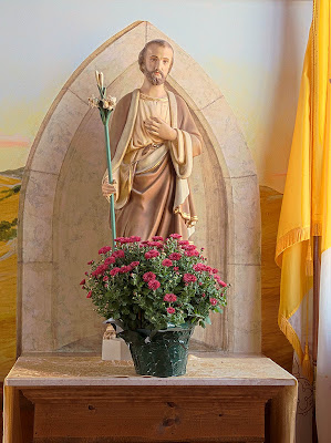 Saint James Roman Catholic Church, in Catawissa, Missouri, USA - statue of Saint Joseph