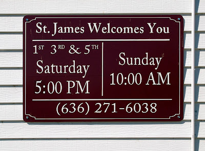 Saint James Roman Catholic Church, in Catawissa, Missouri, USA - sign