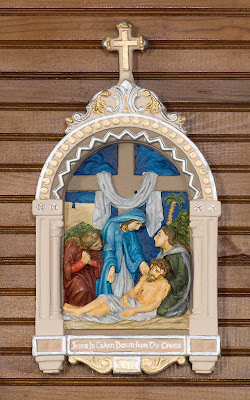 Saint James Roman Catholic Church, in Catawissa, Missouri, USA - station of the cross