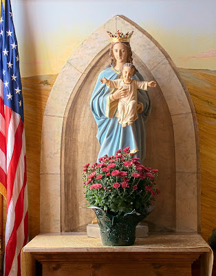 Saint James Roman Catholic Church, in Catawissa, Missouri, USA - statue of Blessed Virgin Mary and Infant Jesus