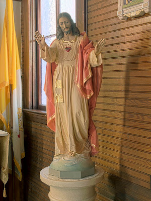 Saint James Roman Catholic Church, in Catawissa, Missouri, USA - statue of the Sacred Heart of Jesus