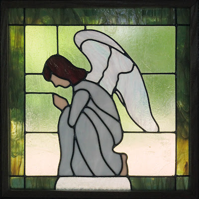 Saint James Roman Catholic Church, in Catawissa, Missouri, USA - stained glass window of angel