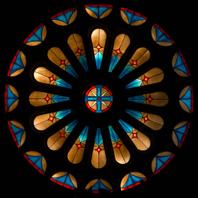 Sacred Heart Roman Catholic Church, in Crystal City, Missouri, USA - rose window