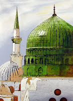 Green Dome of Medina Masjid al Nabi Mosque of Prophet
