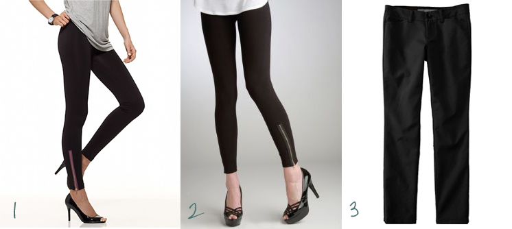 efbe5a551007f8 2 - Leggings with Side Zipper - HUE - $25.00 3 - Skinny Ankle-Zip Trousers  - Old Navy - $29.50