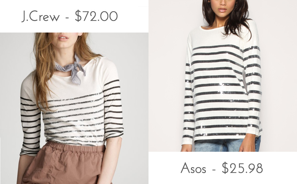 96b6b939466 Über Chic for Cheap  Look for Less  J.Crew Stripe Sequin Boatneck Tee