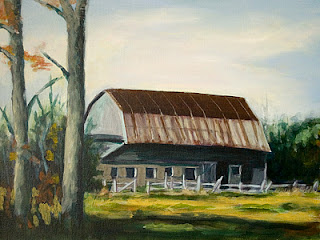 Old Barn Acrylic Painting I Am Also Working On – Work in Progress WIP