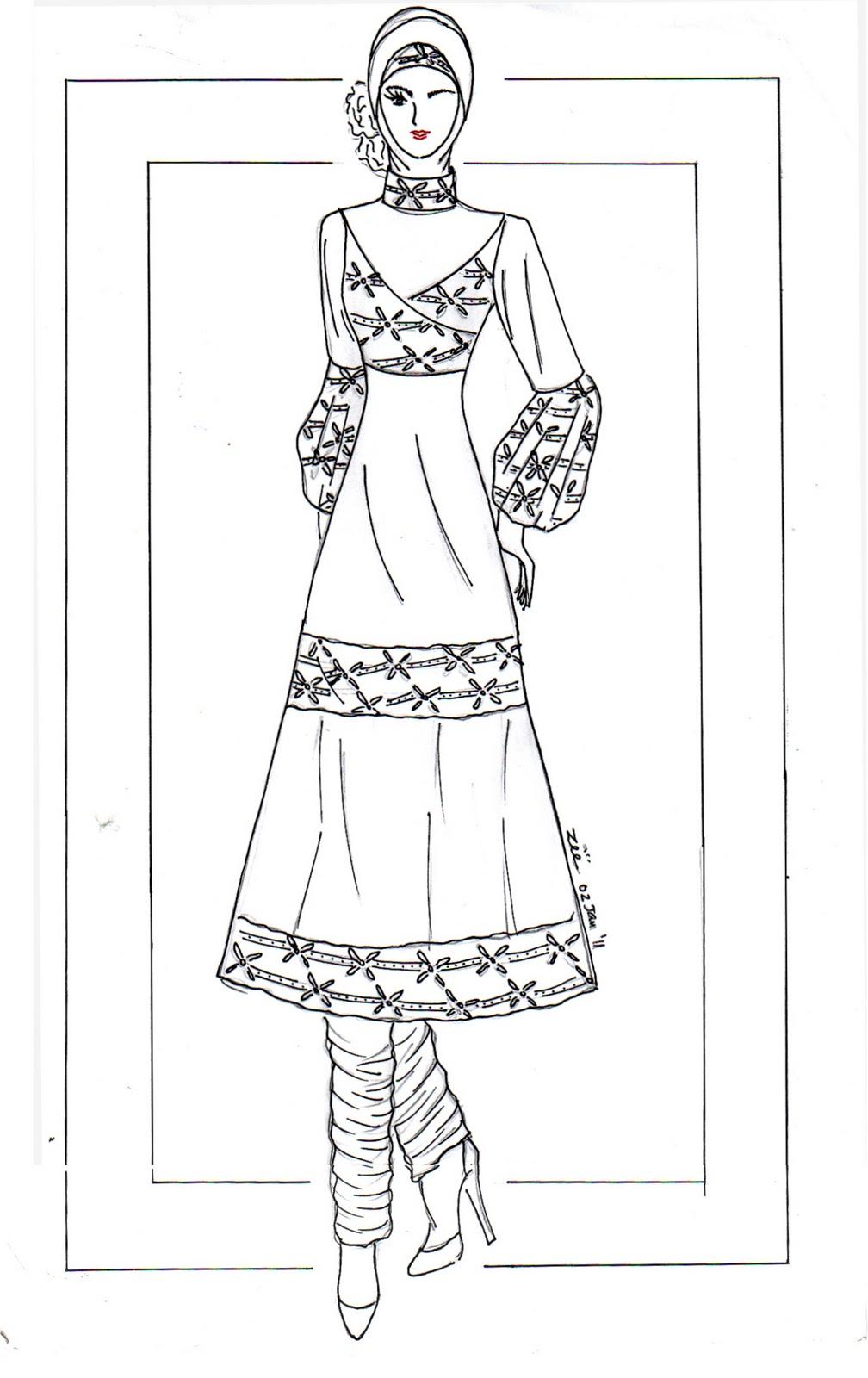 Kumpulan Soal Pelajaran 8 Gambar Sketsa Desain Baju Muslim