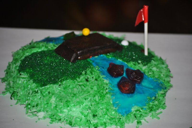 On your mark get set GO Mini golf cake