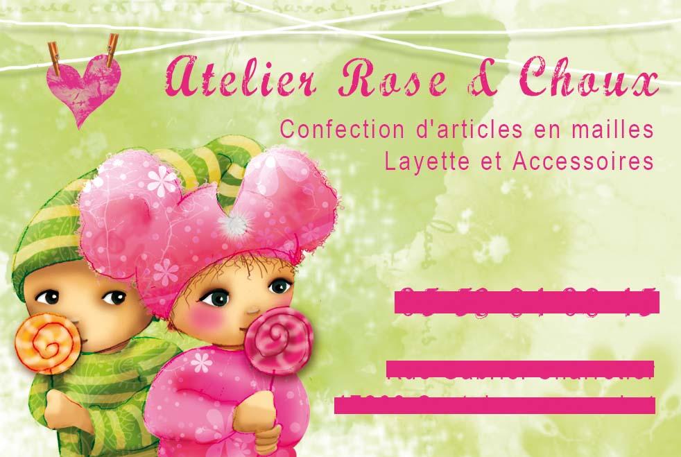 Jai Eu Ma Premiere Commande De Carte Visite Pour Latelier Rose Et Choux La Personne Realise Des Articles En Mailles Layette Accessoires