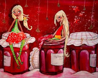 des petites fées se glissent dans les pots de confitures, il y a des papillons, elles ont un petit air coquin. cette illustration peinture a été réalisée par l'illustratrice laure phelipon