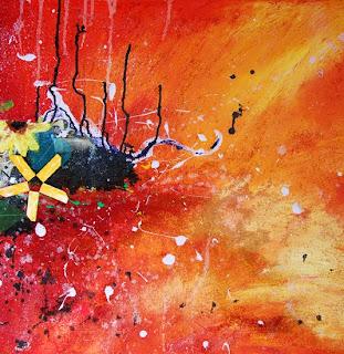 peinture abstraite couleur vive et joyeuses rappelant les quatre saisons, lautomne le printemps l'été et l'hiver, de la matière des fleurs comme une explosion florale qui en met plein la vue cette peinture abstraite a été réalisée par l'illustratrice laure phelipon