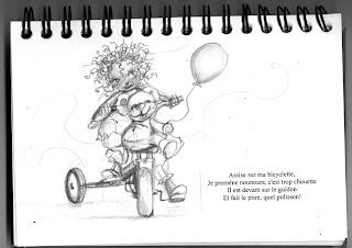 petite fille sur son véli avec son nounours qui tien un ballon, illustration par l'illustratrice laure phelipon