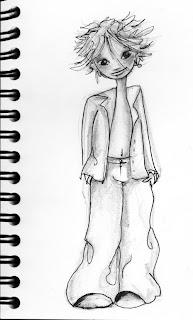 croquis noir et blanc d'un petit garçon aux cheveux en bataille par l'illustratrice laure phelipon