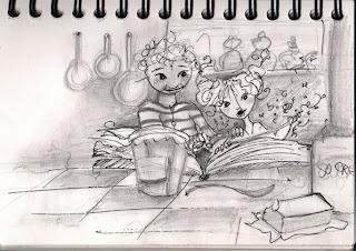 une illustration d'une petite fille avec sa mamie en train de feuilleter un livre de recette, par l'illustratrice laure phelipon