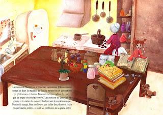 Une illustration de laure illustratrice d'une mamie qui fait des confitures avec sa petite fille dans une jolie cuisine lumineuse avec tout pleins de fruit casserolles d'accessoire pour cuisiner en bazar !