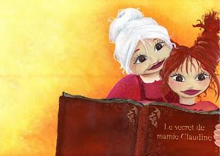 couverture d'album mamie claudine et son secret bien gardé, la petite fille et la mamie ouvre un grand livre tout abimé dans lequel sont écrit les recettes et le titre est posé sur le livre comme si c'était son titre. il y a une grande douceur et complicité partagé entre la mamie et sa petite fille. illustratice et illustration laure phelipon