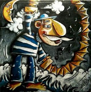 illustration accordéoniste au clair de lune par l'illustrateur des ogres de barback eric fleury