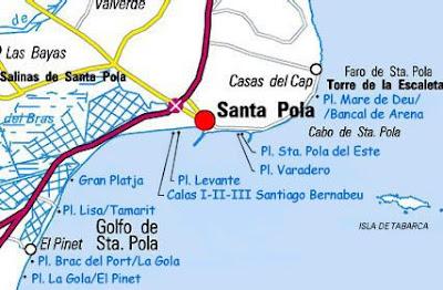 Mapa De Santa Pola.La Costa Blanca A Vista De Pajaro V Santa Pola Y Elche