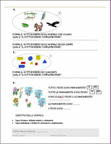 Verifiche Matematica Scuola Primaria Insiemi E Sottoinsiemi Scheda