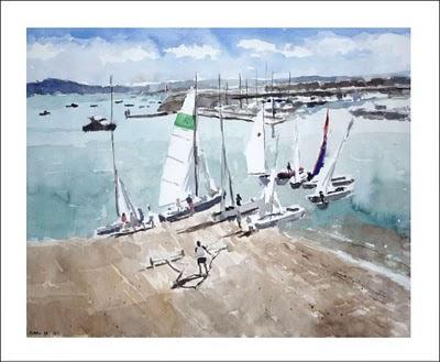 acuarela del puerto deportivo de santander