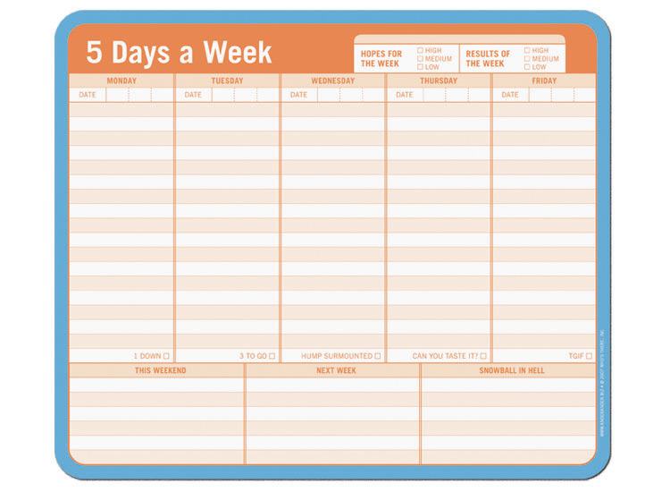 Free 5 Day Calendar Template Gallery - Template Design Free Download