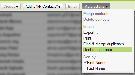 Restore Contacts in Gmail