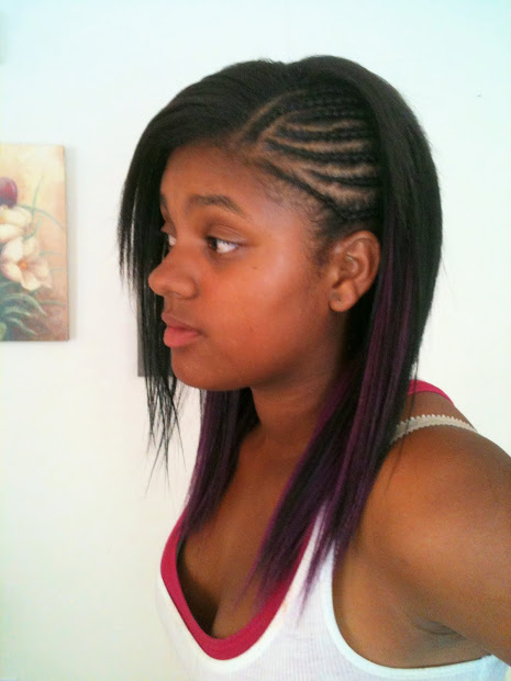 cornrows braids extensions purple