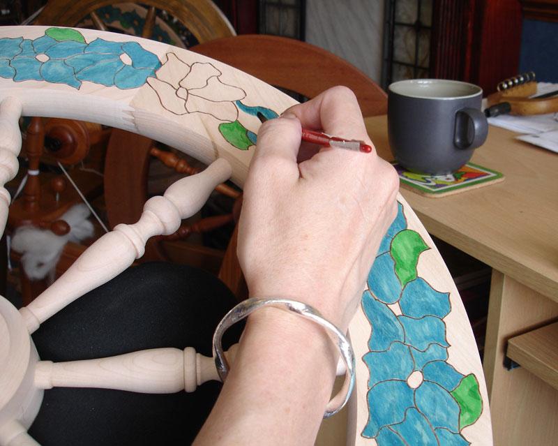 stitchin bints painting spinning wheel