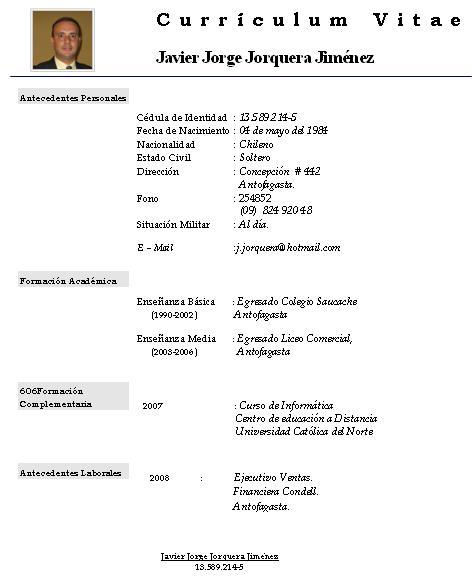 Ejemplos De Fotos Para Curriculum Vitae Sample Resume For Job Download