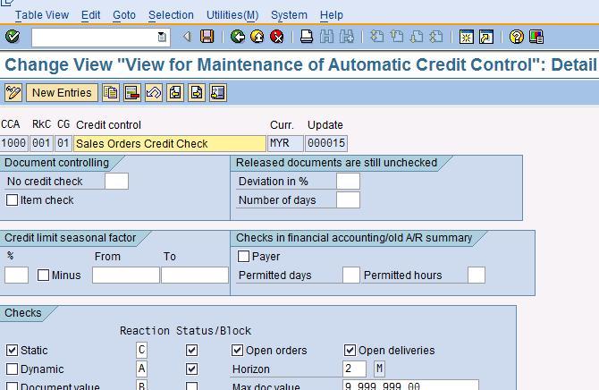 SAP Treasure Box: Credit control at Sales Order