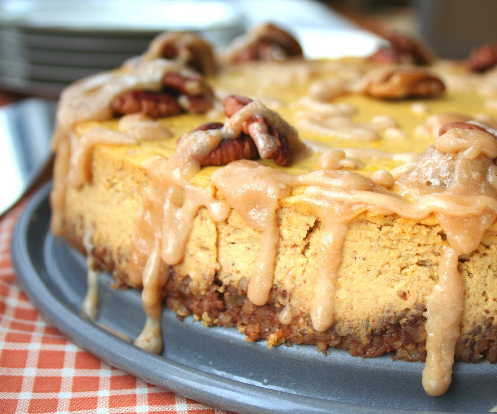 Pumpkin Bourbon Cheesecake With Spiced Pecan Crust Low