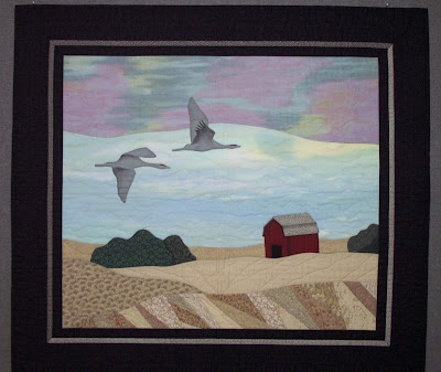 [Sandhill cranes quilt by Shelly Burge
