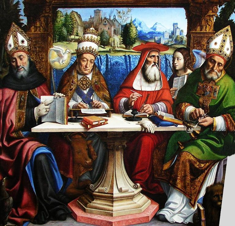 Santos Gregório Magno (Papa, com tiara), Ambrósio (cardeal com capelo vermelho), Agostinho e Jerônimo (bispos com mitra)