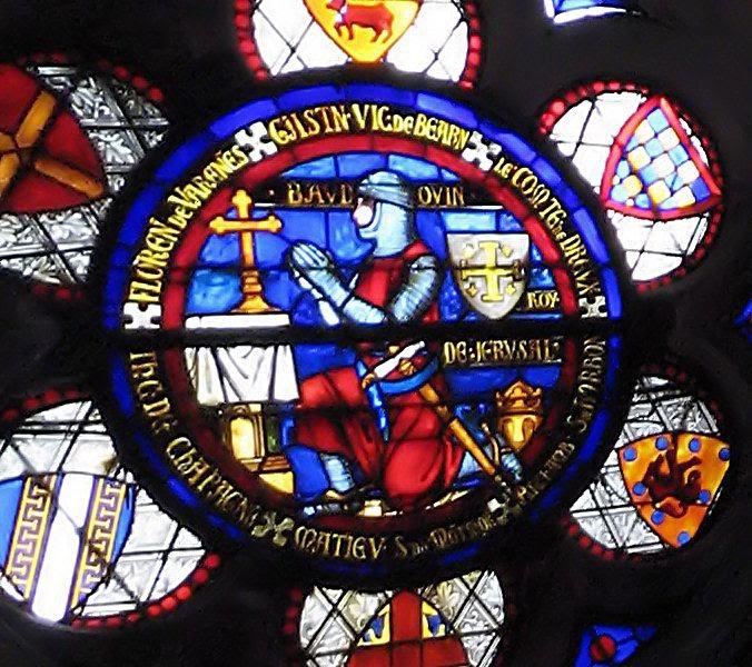 Vitral do rei Balduino na Basílica de Saint-Denis, França
