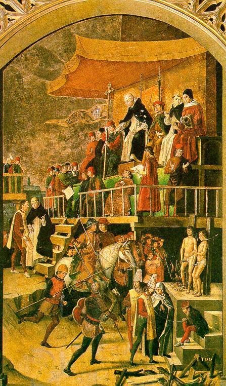 São Domingos de Gusmão preside auto-de-fé da Inquisição.  Pedro Berruguete (1450 - 1504), Museu do Prado, Madri.