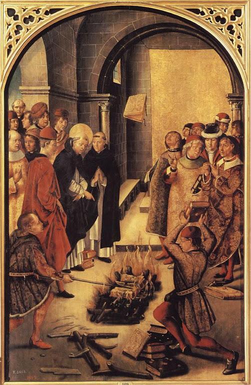 São Domingos de Gusmão queima livros com heresias cátaras.  Pedro Berruguete (1450 - 1504), Museu do Prado, Madri.