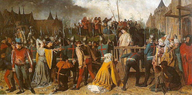 Santa Joane d'Arc indo ao suplício, Herois medievais
