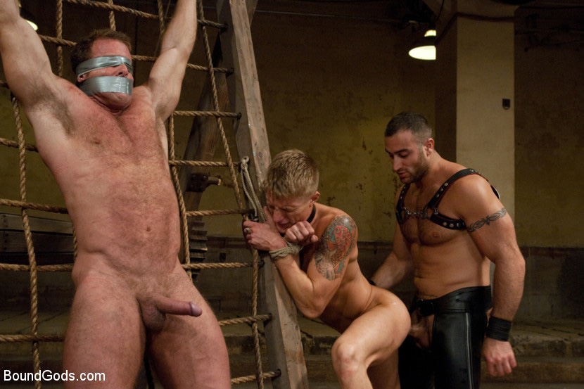 image Bodybuilder gets dominated by wrestler and made to cum