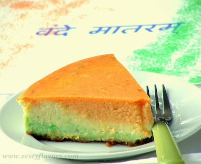 Tri color & tri flavor cheesecake - 50+ Ideas for India Independence Day Party, August 15th - craft, Books, recipes & national symbol craft - Tiger, lotus, mango, banyan tree, peacock crafts